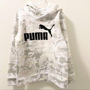 Puma White Camo Fleece Hoodie- Size 8